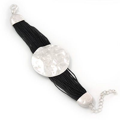 Ethnic Hammered Disk Black Cotton Cord Bracelet In Silver Plating - 16cm Length/ 5cm Extension