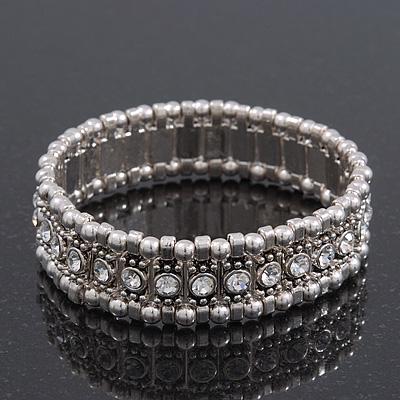 Silver Plated 'Indian Tranquillity' Flex Bangle Bracelet - 18cm Length