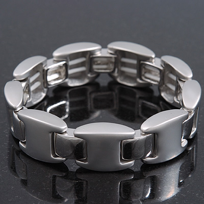 Unisex Polished/Matt Silver Tone Flex Tennis Bracelet - 19cm Length