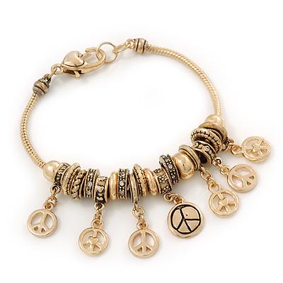 Gold Plated Peace Charm 'Heiwa' Bracelet - 19cm Length