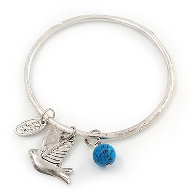 Thin Hammered Charm 'Swallow, Turquoise Bead & Medallion' Bangle In Silver Plating - 18cm Length - main view