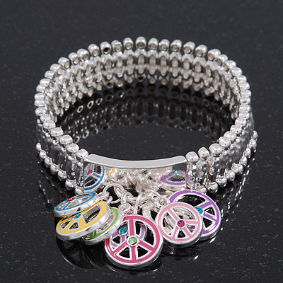 Silver Plated Multicoloured 'Peace' Charm Flex Bracelet - 19cm Length