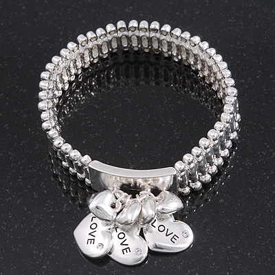 Silver Plated 'Love' Heart Charm Flex Bracelet - 19cm Length