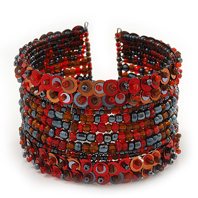 Bohemian Beaded Cuff Bangle with Sequin (Red) - Adjustable