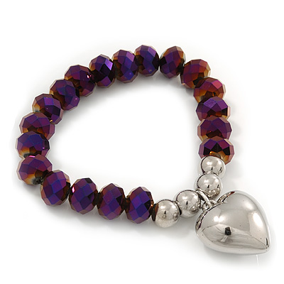 Chameleon Purple Faceted Glass Bead 'Heart' Flex Bracelet - up to 22cm Length - main view