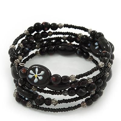 Vintage Style 'Daisy' Glass&Ceramic Bead Coil Flex Bracelet - Black