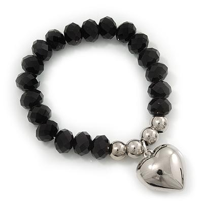 Jet Black Faceted Glass Bead 'Heart' Flex Bracelet - up to 22cm Length