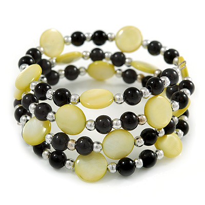 Acrylic & Shell Bead Coil Flex Bangle Bracelet (Lime Green and Black) - Adjustable - main view