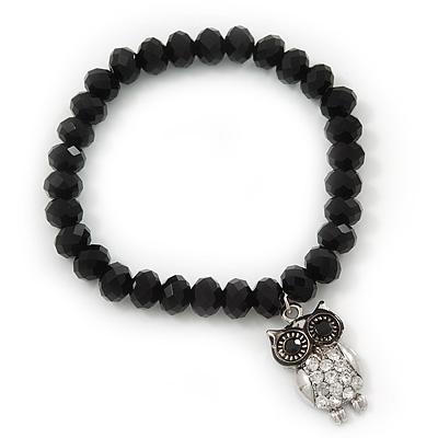 Black Glass Bead 'Owl' Flex Bracelet - 19cm Length