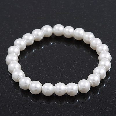 Classic White Simulated Glass Pearl Flex Bracelet - 8mm diameter/Up to 20cm Length - main view