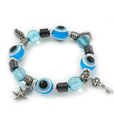 Evil Eye Light Blue Acrylic Bead Protection Stretch Bracelet In Burn Silver - 9mm Diameter - Adjustable