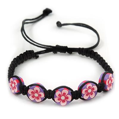 Purple/Black Floral Wooden Friendship Style Cotton Cord Bracelet - Adjustable