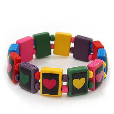 Multicoloured Wooden 'Heart' Flex Bracelet - Adjustable - main view