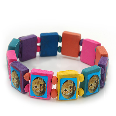 Multicoloured Wooden 'Cat' Flex Bracelet - Adjustable