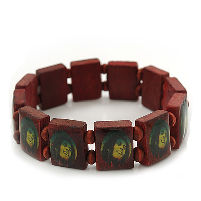 """Brown Bob Marley """"One Love"""" Wooden Stretch Bracelet - up to 20cm length"""