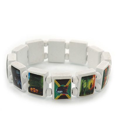 "White Bob Marley ""One Love"" Wooden Stretch Bracelet - up to 20cm length"