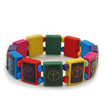Multicoloured Wooden 'Peace' Flex Bracelet - Adjustable - main view