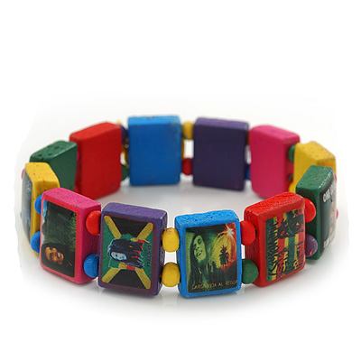 "Multicoloured Bob Marley ""One Love"" Wooden Stretch Bracelet - up to 20cm length - main view"