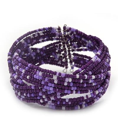 Boho Purple/ Lavender Grey Glass Bead Plaited Flex Cuff Bracelet - Adjustable
