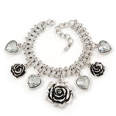 Vintage 'Rose&Heart' Mesh Charm Bracelet In Burn Silver Metal - 17cm Length/ 4cm Extension - main view