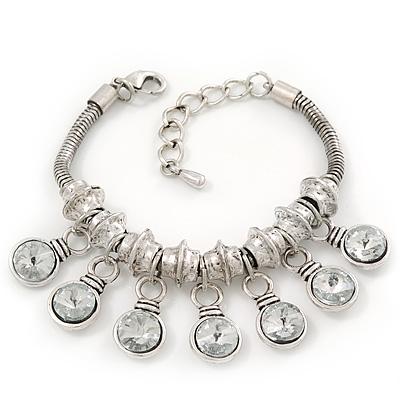 Silver Plated Chunky Crystal Bead Charm Bracelet - 17cm Length/ 4cm Extension