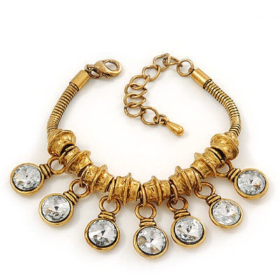 Vintage Gold Plated Chunky Crystal Bead Charm Bracelet - 17cm Length/ 4cm Extension