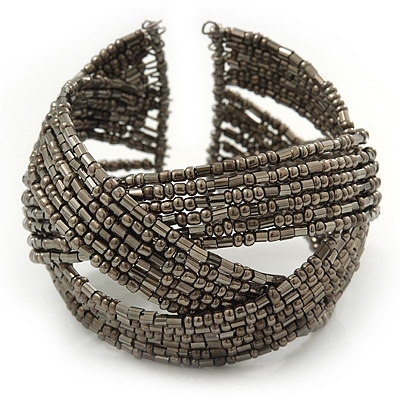 Boho Beige Grey Glass Bead Plaited Flex Cuff Bracelet - Adjustable