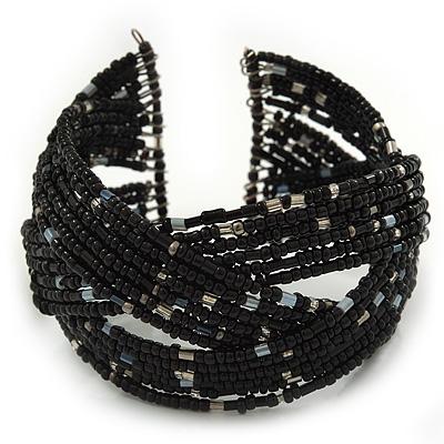 Boho Black/Silver Glass Bead Plaited Flex Cuff Bracelet - Adjustable