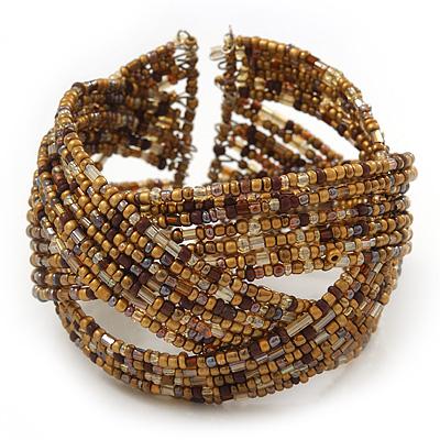 Boho Brown/Gold Glass Bead Plaited Flex Cuff Bracelet - Adjustable