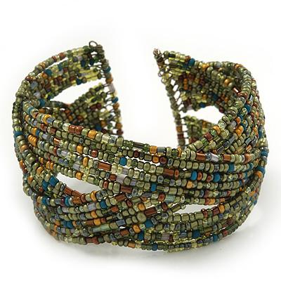 Boho Light Green/Brown/Gold Glass Bead Plaited Flex Cuff Bracelet - Adjustable