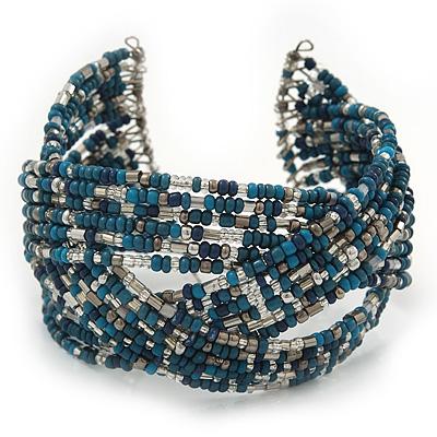 Boho Blue/ Silver/ Turquoise Coloured Glass Bead Plaited Flex Cuff Bracelet - Adjustable