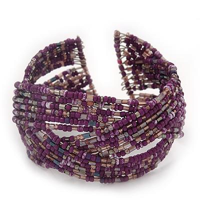 Boho Purple/Silver Glass Bead Plaited Flex Cuff Bracelet - Adjustable