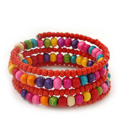Teen's Brick Red Glass/ Multicoloured Wood Bead Multistrand Flex Bracelet - Adjustable - main view