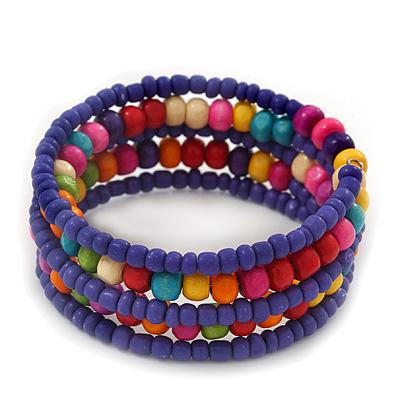 Teen's Blue Lilac Glass/ Multicoloured Wood Bead Multistrand Flex Bracelet - Adjustable - main view