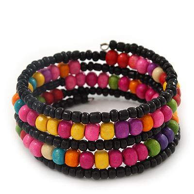 Teen's Black Glass/ Multicoloured Wood Bead Multistrand Flex Bracelet - Adjustable - main view