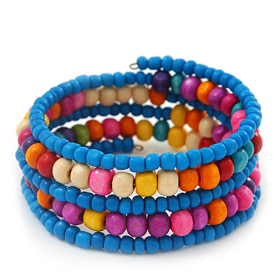Teen's Light Blue Glass/ Multicoloured Wood Bead Multistrand Flex Bracelet - Adjustable - main view