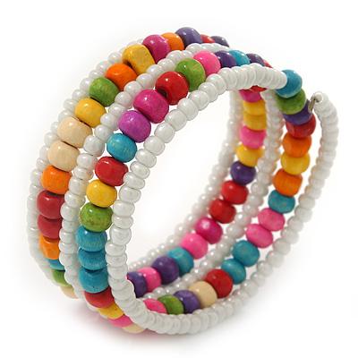 Teen's White Glass/ Multicoloured Wood Bead Multistrand Flex Bracelet - Adjustable - main view