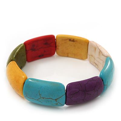 Multicoloured Stone Flex Bracelet - up to 20cm Length