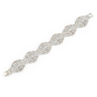 Bridal/ Wedding/ Prom/ Party Oval Link Austrian Crystal Bracelet In Rhodium Plating - 18cm L