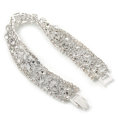 Bridal/ Wedding/ Prom/ Party Swarovski Crystal Bracelet In Rhodium Plating - 17cm Length
