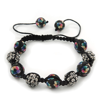 Black Acrylic/Diamante Bead Children/Girls/ Petites Teen Buddhist Bracelet On Black String - Adjustable