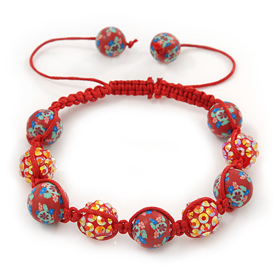 Brick Red Acrylic/Diamante Bead Children/Girls/ Petites Teen Buddhist Bracelet On Red String - Adjustable