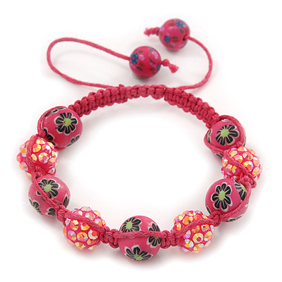 Deep Pink Acrylic/Diamante Bead Children/Girls/ Petites Teen Buddhist Bracelet On Pink String - Adjustable