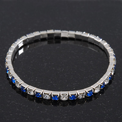 Slim Sapphire Blue/ Clear Coloured Diamante Flex Bracelet In Silver Plating - 18cm Length