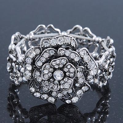 Vintage Crystal Rose Flex Bracelet In Burn Silver Metal - Up to 21cm Length - main view