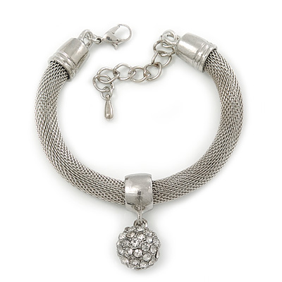 Silver Plated Mesh Bracelet With Crystal Ball - 17cm Length/ 5cm Extension