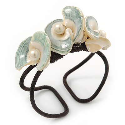 Chunky Calla Lily Floral Sea Shell Wired Cuff Bracelet - Adjustable (White/ Sea Green)