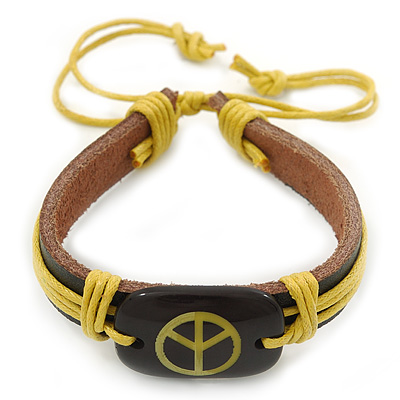 Unisex Dark Brown/ Yellow Leather 'Peace' Friendship Bracelet - Adjustable
