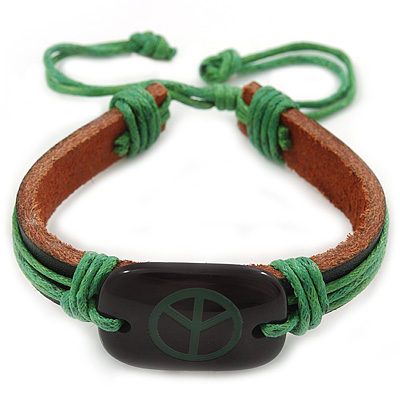 Unisex Dark Brown/ Green Leather 'Peace' Friendship Bracelet - Adjustable
