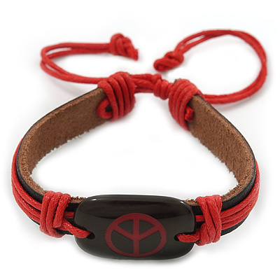 Unisex Dark Brown/ Red Leather 'Peace' Friendship Bracelet - Adjustable